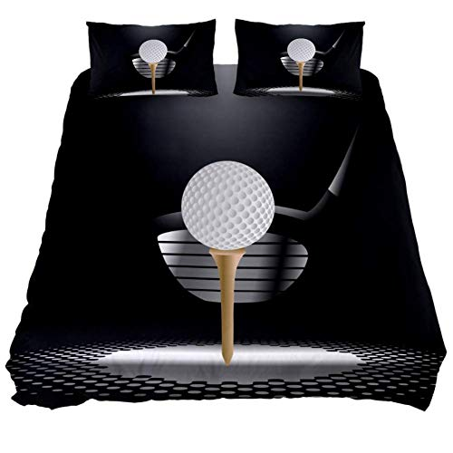 MUMIMI 3 Pcs Microfiber Bedding Set Duvet Cover Pillow Shams Bed Quilt Cover 1 Cover 2 Pillowcase with Zip,Lightweight and Soft,Single,Golf Ball On Tee With Club In The Spotlight