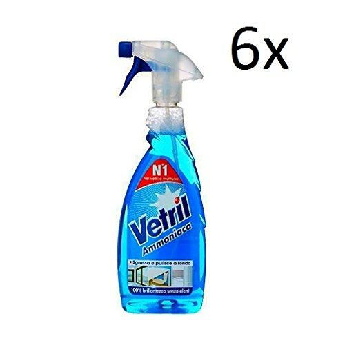 6X Vetril Ammoniaca vetri vetro pulitore 0,65L Ammoniaca