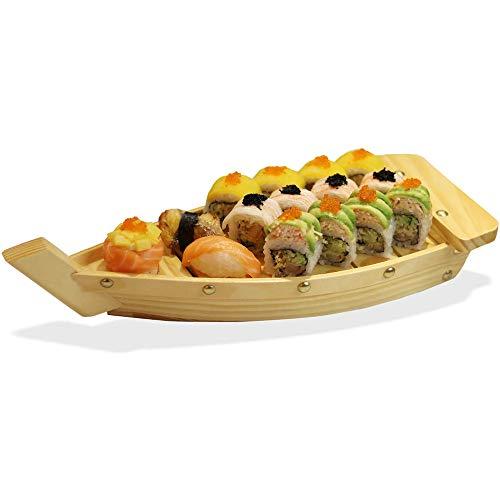 LZC Piatto da Sushi in Legno a Forma di Barca Sushi Giapponese Sashimi Vassoio Piatto da Portata, Forniture per Hotel Ristorante-Barca da Esposizione, 16,5 * 6,7 * 3