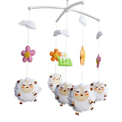 Bebé y niña ropa de cama Rattle Toy, [Ovejas lindas] Cuna móvil, regalo colgante