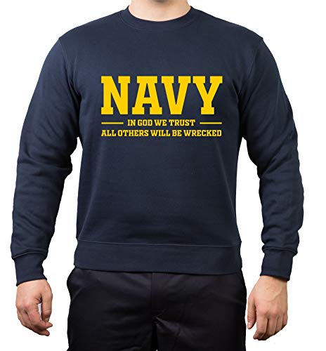FEUER1 Sweat Navy - In God We Trust, All Others Will Be Wrecked azul XL
