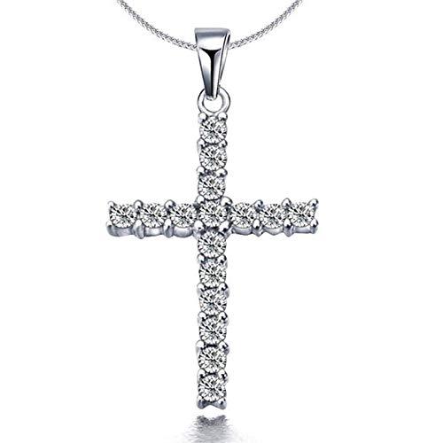 24 JOYAS Crucifijo de Cristal Circonitas, Collar Colgante Cruz Elegante para Mujeres con Cadena de Plata de 43 + 5 cm