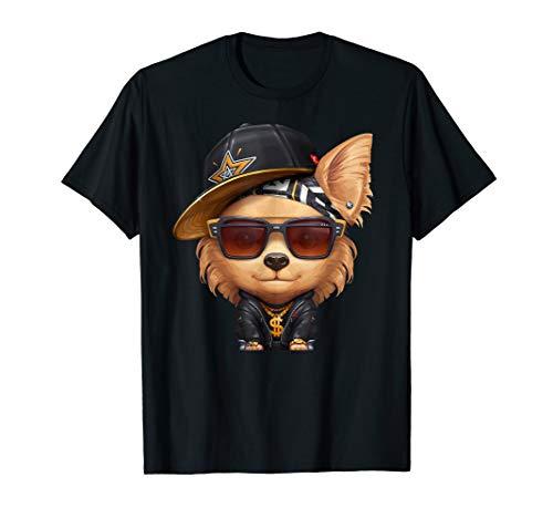Beige Langhaarige Chihuahua Hip-Hop Super Star T-Shirt