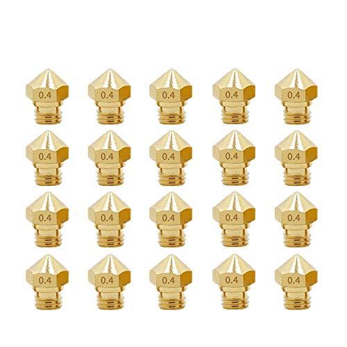 3Dman MK10 Nozzles, M7 0.4mm Extruder Brass Nozzle Print Head for Makerbot 2 RepRap 1.75mm Filament 3D Printer -20pcs