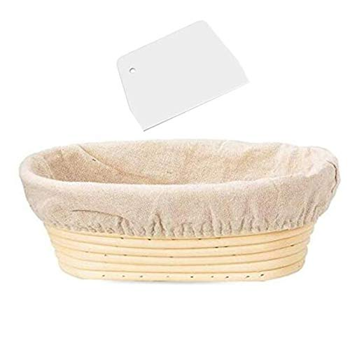 Andifany 10 Inch Oval Shaped Bread Banneton Proofing Basket - Baking Dough Bowl Gifts for Bakers Proving Baskets for Sourdough Lame Bread Slashing Scraper Tool Starter Jar Proofing Box