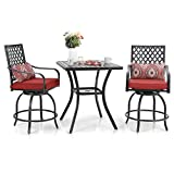 Sophia & William Patio Bar Set, 3 Pieces Outdoor Bistro Set with 2 Swivel Bar Stools Bar Height Patio Chairs and 1 Square Patio Bar Table with Umbrella Hole