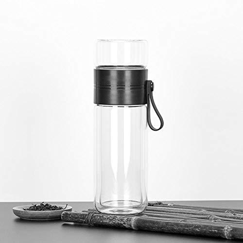 Jusemao Botella de agua portátil 500 ml de doble diseño de té botella de agua con excelente separación de té y agua, el mejor regalo para amigos-500 ml