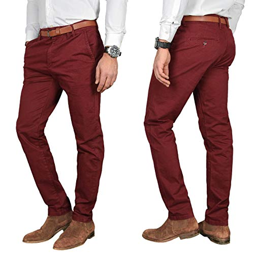 A. Salvarini Herren Designer Business Chino Hose Chinohose Regular Fit AS-095 [AS-095 - Bordeaux - W36 L32]