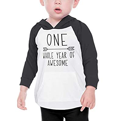 Baby Boy First Birthday Outfit One Year Old Birthday Boy Hoodie (Black 12 Months)