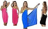Premium (2 en 1) - Moderno y aireado Vestido de Playa - Pañuelo Cambiador - Túnica - Pareo - Toalla de Ducha - Azul
