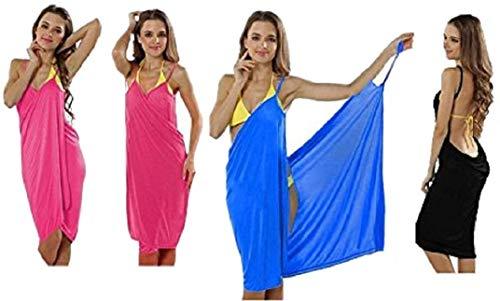 Premium (2-in-1) trendy luchtige strandjurk - wikkeldoek jurk wikkeljurk tuniek pareo sarong doek badhanddoek - blauw