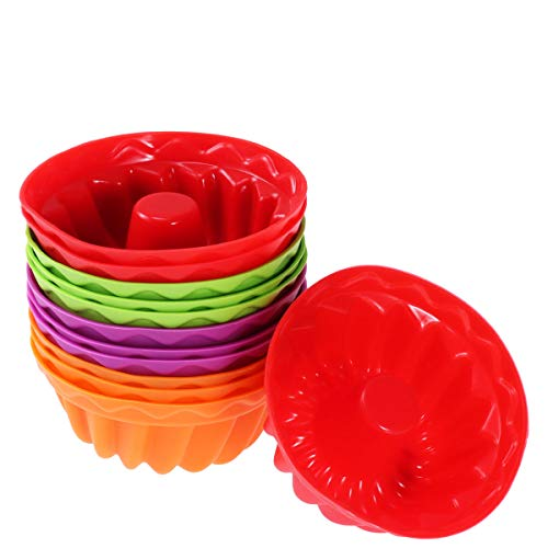 OUNONA 12Pcs Silikon Gugelhupf Backform, Wiederverwendbare Kuchenform Set für DIY Backen(gelegentliche Farben)