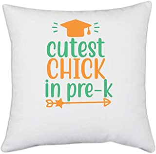 UDNAG White Polyester 'Student Teacher | Cutest Chick in pre-k' Pillow Cover [16 Inch X 16 Inch]