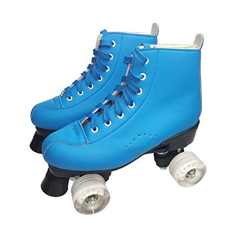 OYPY Scarpe da Donna a rotelle in Pelle Artificiale Scarpe Doppia Linea Uomo Scarpe da Skate per Adulti con PU 4 Ruote Bianche PATINS (Colore : Blu, Taglia : 44)