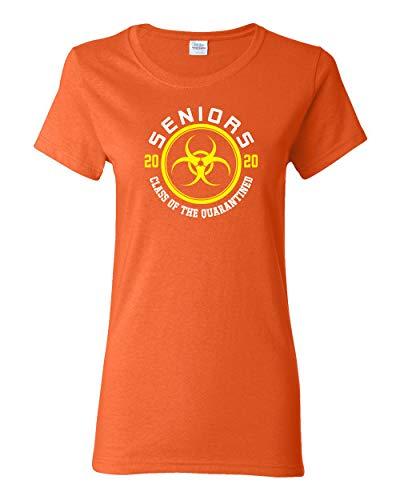 Wild Bobby Seniors 2020 Class of The Quarantined Graduation Gift   Womens Pop Culture Graphic T-Shirt, Orange, Large