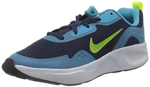 Nike WearAllDay Sneaker, Midnight Navy/Volt-Baltic Blue-White, 37.5 EU