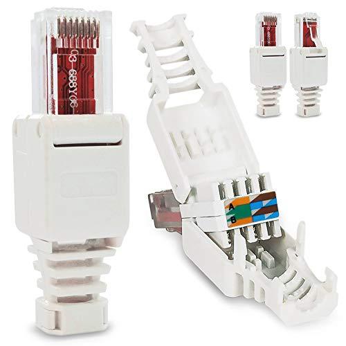 Nauci Fiche de câble réseau patch RJ45 Cat6 Cat7 Cat5 LAN Montage sans outils Fiche à sertir Lot de 4 Connecteur RJ45 CAT6 sans outil
