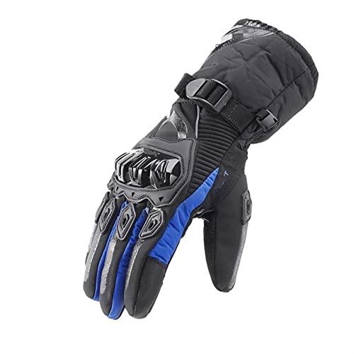 ZZLLFF Keep Warm Winter Motorcycle Gloves Men Outdoor Waterproof Sport Ski Skate Gloves Motorbiker Motocross Racing Riding (Color : A blue, Size : L)