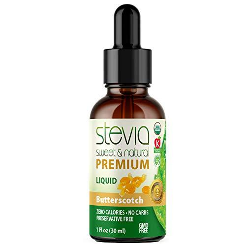 Stevia Intl Butterscotch Premium Quality Stevia Drops   Organic Liquid Stevia  Best Sugar Substitute   Pure Extract   Naturally Sweet   Non-Bitter, 0 Calorie, NON-GMO, Diabetic & Keto Friendly (1oz)