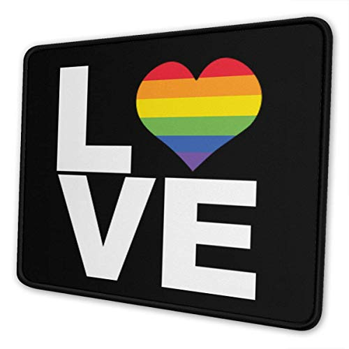 Classical Love Rainbow Heart Gay&Lesbian Mouse Mat - Mouse Pad Rectangle Non-Slip Rubber 10 X 12 Inch Mousepad Mat