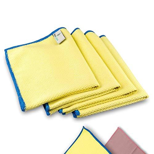 ELEXACLEAN Fenstertuch streifenfrei, Mikrofaser Scheibentuch (4 Stück, 40x30 cm, gelb) Premium Glas Putztücher Autotuch für Innen & Außen