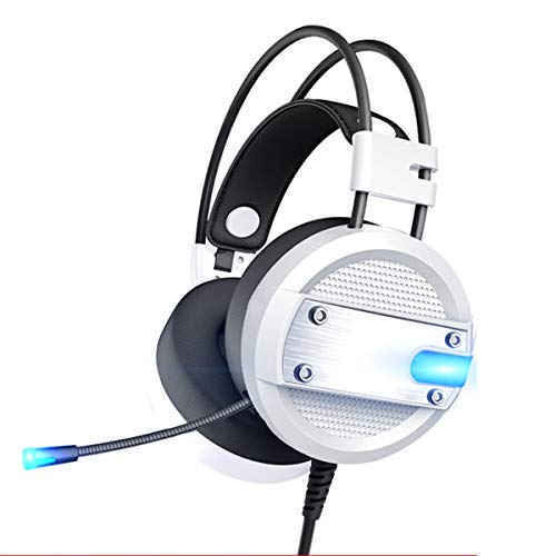 Leyee Gaming Headset with Microphone, Over Ear Headset Support Light Volume Control for Desktop Laptop Best Gift White