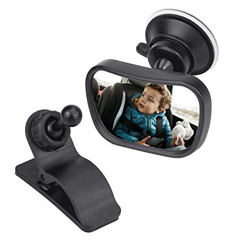 Demason Espejo de Bebé en el Coche, Retrovisor de Coche, Espejo Pequeño Retrovisor de Bebé, para Vigilar los Bebés, Instalado en Parabrisas o Viseras Parasol, 360° Rotación, Fuerte Llave Giratoria