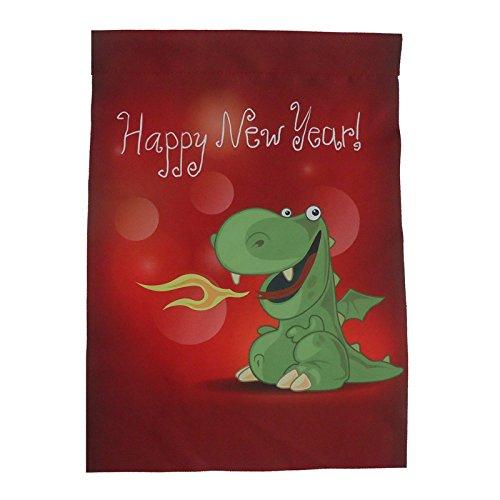 Home King Gelukkig Nieuwjaar Groene Draak Tuin Vlaggen Set voor Buiten van 12 x 18inch Vlaggen Dubbelzijdig, Samengestelde stoffen zijn Duurzaam, Vakantie Hang een foto