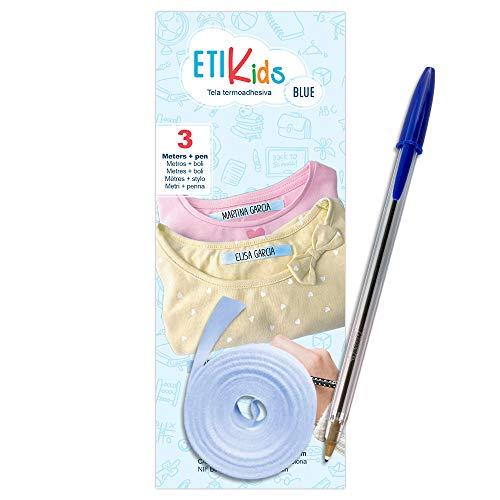 1 Rollo de cinta de tela de 3 metros x 1 cm de color Azul. Etiqueta termoadhesiva para escribir con boli. Incluye Bolígrafo.