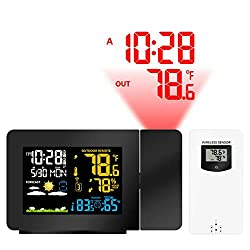 CZLABL Multi-Function Projection Alarm Clock Weather Clock Color Screen Weather Forecast Projection Electronic Clock Indoor and Outdoor Temperature Humidity