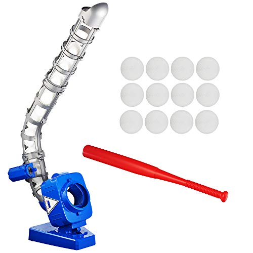 Sport Games Baseball Pitching Machine for Youth, Height Adjustable Electronic Slow Pitch Toy w/Bat and 12 Balls, for Boys and Girls   T-Ball and Softball   Fun Practice Catching, Hitting, Batting