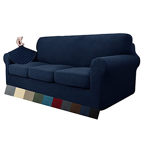 MAXIJIN 4 fundas de sofá jacquard para 3 plazas, superelásticas, antideslizantes, aptas para mascotas, protector de muebles elásticos (3 plazas, azul marino)
