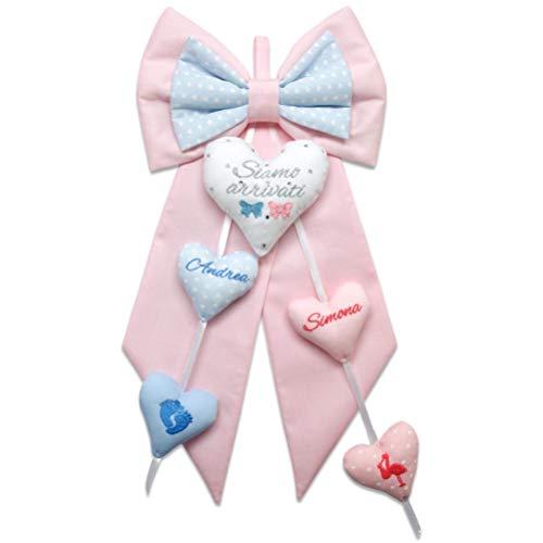 Fiocco nascita Gemelli rosa chiaro e azzurro da personalizzare - coccarda per le nascite gemellari - con ricami disegno e nomi personalizzabili