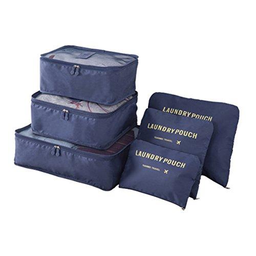 Organizador de Viaje Organizadores para Maletas, EASEHOME 3Pcs Cubos de Embalaje + 3pcs Bolsas de Almacenamiento para Ropa Zapato Cosmético Impermeable Bolsa de Lavandería, Azul Oscuro