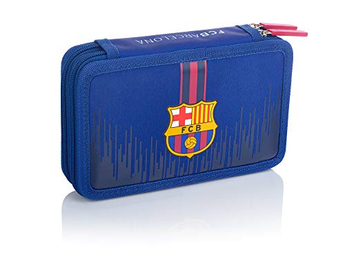 FC Barcelona Federtasche ohne Zubehör - Doppelt FC -237 Barcelona Barca fan 7 Federmäppchen, 20 cm, Navy Blue