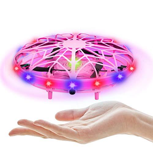 UTTORA Mini Drone UFO,Flying Ball Juguete para Niños Recargable UFO Drone Movimiento Control A Mano Drones Juguetes Voladores con Luces LED Sensor, Regalos para Niños y Niñas (Rosa)