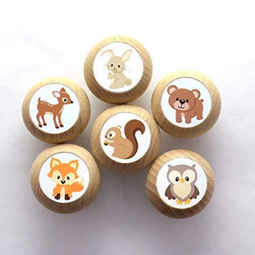 Juego de 6 pomos para muebles con motivos de animales, madera de haya, para habitación infantil, animales del bosque, ciervo, oso, liebre, zorro, búho, ardilla, animales, 35 mm, redondos