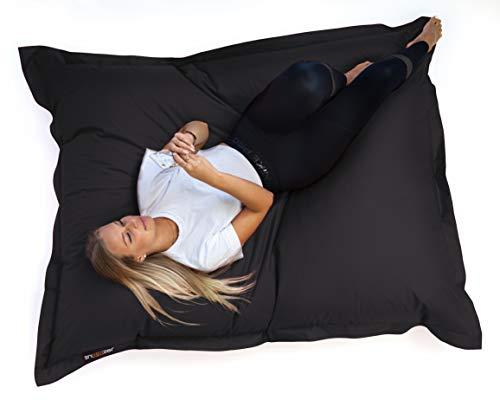 SNOOZER® Riesensitzsack Bean Bag Sitzkissen Indoor Outdoor XXL Sitzsack 400l Füllung (Black)