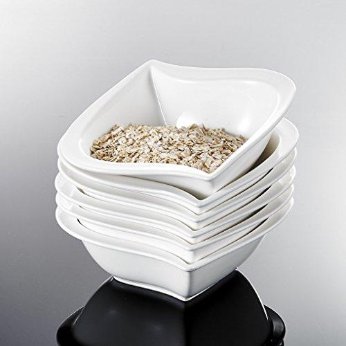 MALACASA, Serie Elvira, 6 TLG. Set CremeWeiß Porzellan 5,5 Zoll / 13,5 * 13,5 * 5cm Schüssel Schälen Müslischüssel Reisschüssel Salatschüsseln DessertSchälen Bowl für 6 Personen