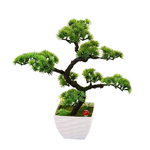 "QTQZ Pino Blanco japonés Artificial, bonsái de Interior y Exterior para Exteriores, Mesa de hogar, Cocina, Oficina, Boda, decoración de jardín, 13,39""/34 cm, 9"