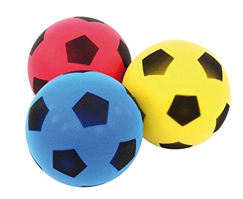 Betzold Sport Softbälle-Set, 3 Stück - Kinder-Softball, Soft-Bälle, Kinder-Ball aus Schaumstoff, Schaumstoffball, besonders weich und griffig, gelb, blau, rot, im Netz, unbeschichtet