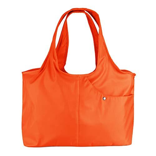ZOOEASS Women Fashion Large Tote Shoulder Handbag Waterproof Tote Bag Multi-function Nylon Travel Shoulder(Orange)