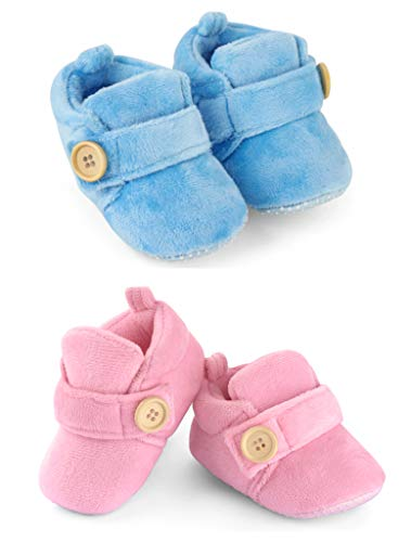 Baby Luv 3 to 12 Month Set of 2 Unisex Baby Booties   Comfortable & Breathable Infant All Seasons Footwear
