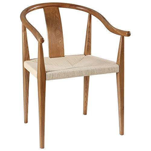 """Amazon Brand – Stone & Beam Wishbone Wood and Rattan Dining Chair with Arms, 21.9""""W, Natural"""