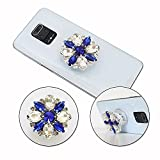 PH26 - Soporte de teléfono móvil plegable para BQ Mobile BQ-6630L Magic L Super Design Diamante, mango universal de teléfono – Diamante blanco y azul