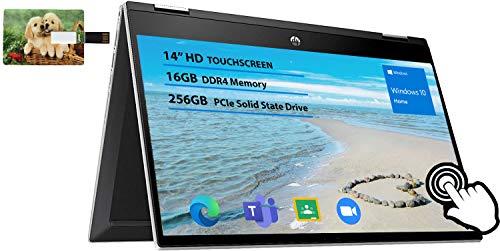 "2020 Newest HP Pavilion x360 2-in-1 14"" Diagonal HD IPS Touchscreen Laptop Intel Core i3 16GB SDRAM 256GB SSD Ash Silver Keyboard Frame, Natural Silver, Windows 10   32GB Tela USB Card"