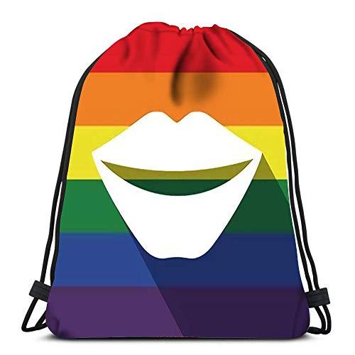 Mochila con cordón Bolsas Deportes Cinch Long Shadow Bandera del Orgullo Gay con Boca Femenina Sonriendo para el Gimnasio de la Escuela