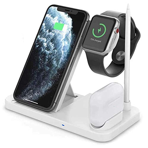 Lopnord Wireless Fast Charging Stazione 4 in 1 Dock, Caricabatterie Wireless Qi Phone per Compatibile con AirPods Apple Pencil iWatch iPhone11 PRO Max XR Samsung Galaxy S10 Plus