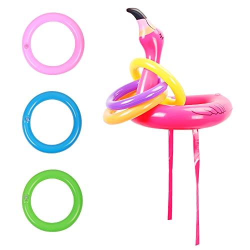 ZERHOK Ringwurfspiel Aufblasbare Flamingo Wurfspiel Pool Spielzeug Indoor Spiele Partyhüte Eltern Kinder Partyspiele mit 6 Ringe für Sommer Hawaii Kindergeburtstag Party
