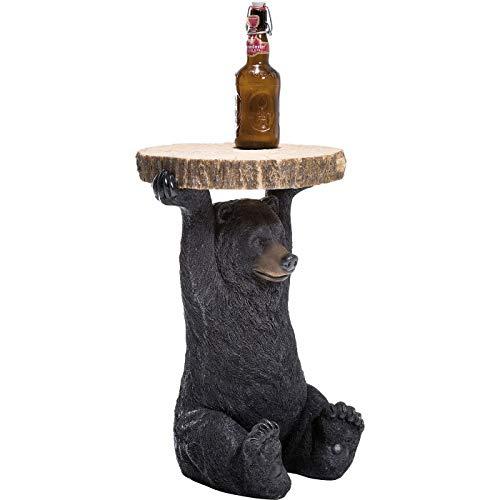 Kare Design Beistelltisch Animal Bär, Ø40cm, kleiner, runder Couchtisch in Holzoptik, Tierfigur als ausgefallener Wohnzimmertisch (H/B/T) 53x40x40cm